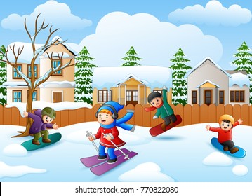 Vector illustration of Happy kid playing snowboard in the snowing village