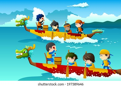 A vector illustration of happy kids in a boat race