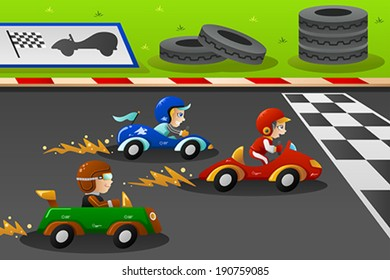 A vector illustration of happy kids in a car racing