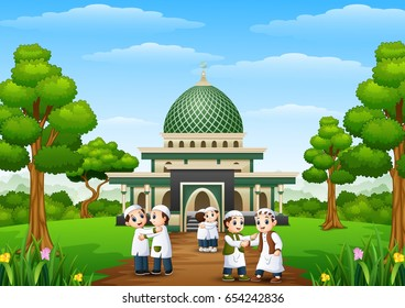 Vector illustration of  Happy kids cartoon celebrate eid mubarak in the park with mosque