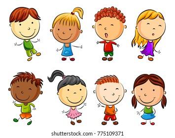 Vector illustration of Happy kids cartoon