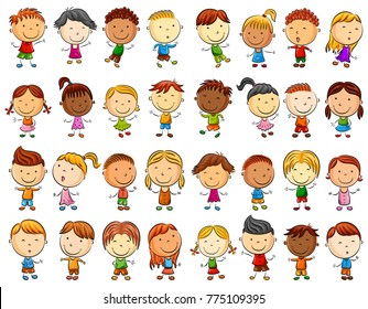 Vector illustration of Happy kids cartoon collection