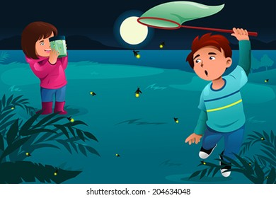 A vector illustration of happy kids catching fireflies and put them in a jar
