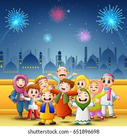 Vector illustration of Happy kids celebrate for eid mubarak with mosque and fireworks background