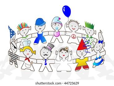 Vector Illustration happy kids dancing
