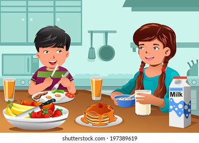 A vector illustration of happy kids eating healthy breakfast at home