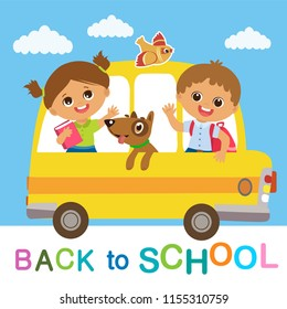 Vector Illustration Of Happy Kids Go To School. Welcome Back To School. Cute School Boy And Girl Riding On School Bus.