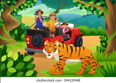 A vector illustration of happy kids going to jungle safari together