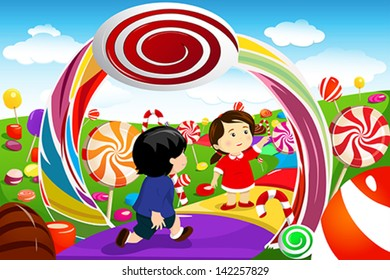 A vector illustration of happy kids playing in a candy land