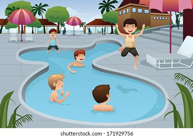 A vector illustration of happy kids playing in an outdoor swimming pool at a resort