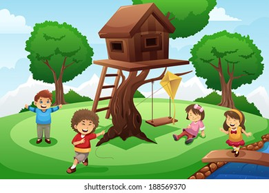 A vector illustration of happy kids playing around tree house