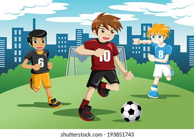A vector illustration of happy kids playing soccer