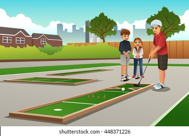 A vector illustration of happy kids playing mini golf