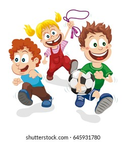 Vector illustration of happy kids playing outside on white background, running and playing football