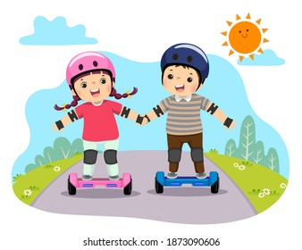 Vector illustration of happy kids in safety helmets riding on hoverboards in the park.