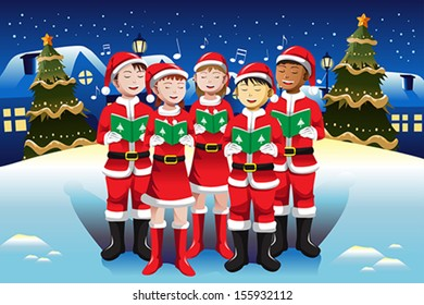 A vector illustration of happy kids singing in Christmas choir