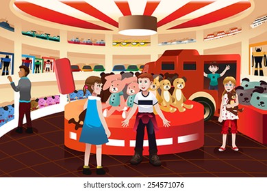 A vector illustration of happy kids in a toy store