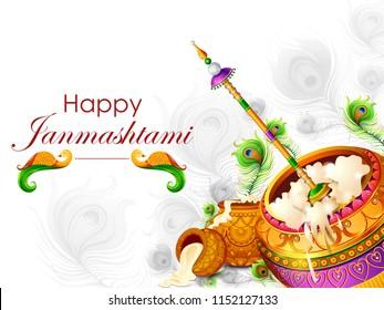 vector illustration of Happy Krishna Janmashtami background with pot of cream ( Dahi Handi )