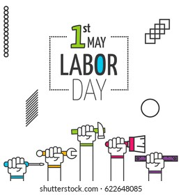 Vector illustration of happy Labor Day background 1 may - labor day . Modern labour day poster or banner. Workers day celebration outline flat geometric concept