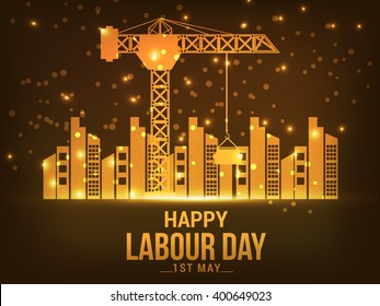Vector illustration of Happy Labour Day concept with a shiny golden background.