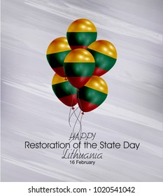 Vector illustration of  Happy Lithuania Restoration  Day 16 Februay. Balloons with flags isolated on gray background.