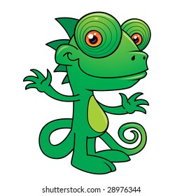 Vector illustration of a Happy little chameleon drawn in a humorous cartoon style.