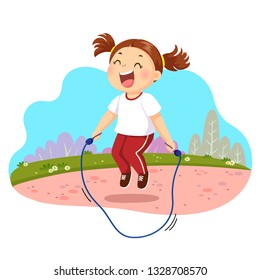 Vector illustration of happy little girl jumping rope in the park.