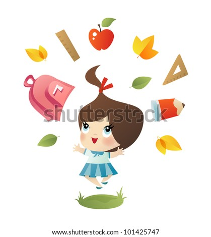 Vector Illustration Happy Little School Girl Stock Vector