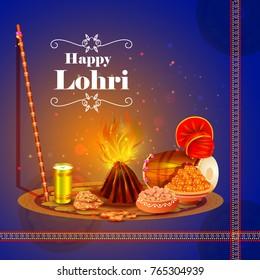 vector illustration of Happy Lohri holiday festival of Punjab India