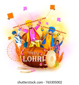 vector illustration of Happy Lohri holiday festival of Punjab India