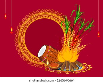 Vector illustration of Happy Lohri/Lohdi holiday background for Punjabi festival ,party with festival background ,decoration and elements