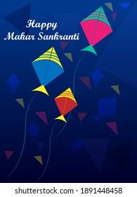 vector illustration of Happy Makar Sankranti holiday India festival background