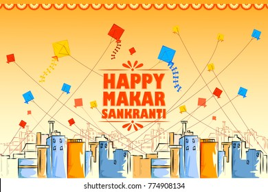 vector illustration of Happy Makar Sankranti holiday India festival background