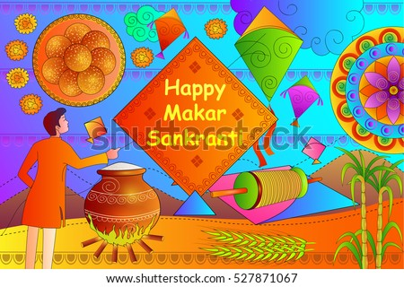 Vector Illustration Happy Makar Sankranti Festival Stock