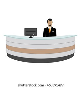 Vector illustration happy male receptionist standing at hotel. Professional concierge at hotel reception desk