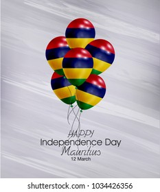 Vector illustration of  Happy Mauritius Independence Day 12 March. Balloons with flags isolated on gray background.