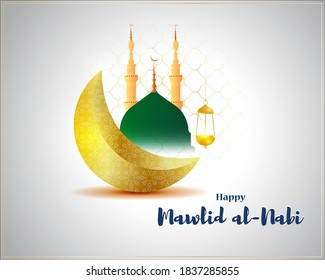 Vector illustration of Happy Mawlid al-Nabi means birth of the Prophet, mosque, moon, lantern, Islamic greeting banner template.