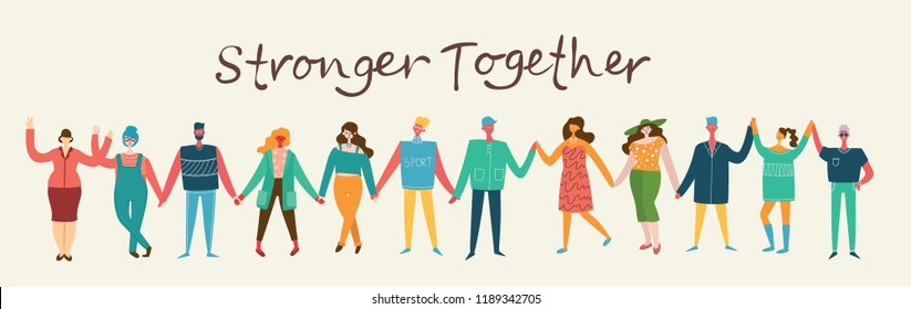 Vector illustration of Happy men and women holding hands together in the flat style. Concept illustration with colored characters.