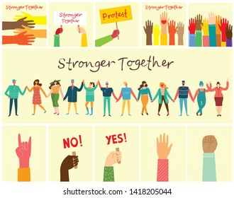 Vector illustration of Happy men and women holding hands together in the flat style. Concept illustration with colored characters. Stronger together