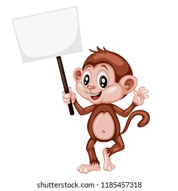 Vector Illustration of a Happy Monkey. Cute Cartoon Monkey Holding a Banner Isolated on a White Background. Happy Animals Set