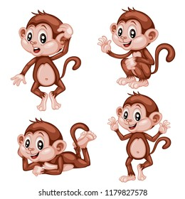 Vector Illustration of a Happy Monkey Set. Cute Cartoon Monkeys in Different Poses Isolated on a White Background. Happy Animals Set. Monkey Waving, Cheering, Thinking, Laying