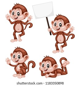 Vector Illustration of a Happy Monkey Set. Cute Cartoon Monkeys in Different Poses Isolated on a White Background. Happy Animals Set. Monkey Walking, Holding a Banner, Cheering, Laying, Waving