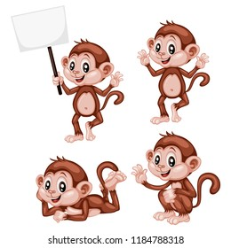 Vector Illustration of a Happy Monkey Set. Cute Cartoon Monkeys in Different Poses Isolated on a White Background. Happy Animals Set. Monkey Holding a Banner, Cheering, Waving, Laying