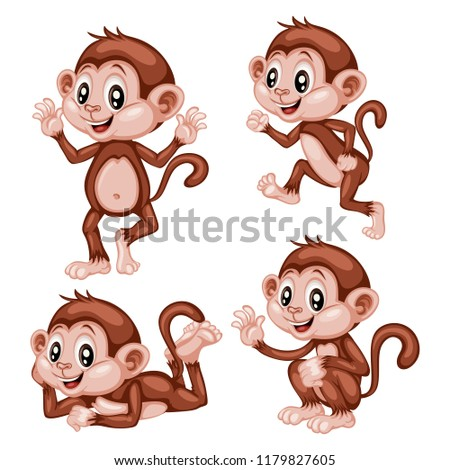 vector illustration happy monkey set cute stock vector royalty free