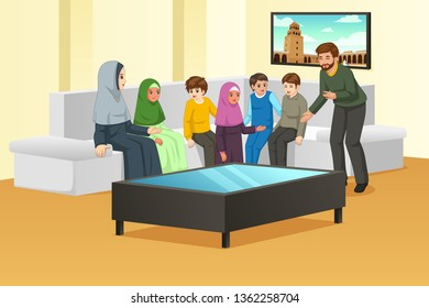 A vector illustration of Happy Muslim Family at Home