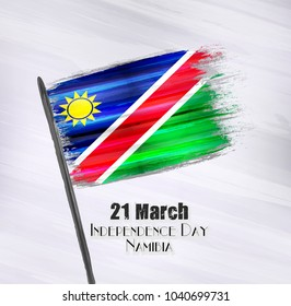Vector illustration of Happy Namibia Independence day 21 March. Old grunge flag isolated on gray background.