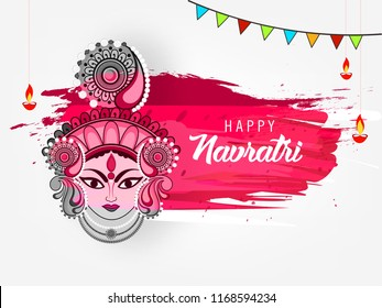 vector Illustration Of Happy Navratri Celebration Poster Or Banner Background 2018.