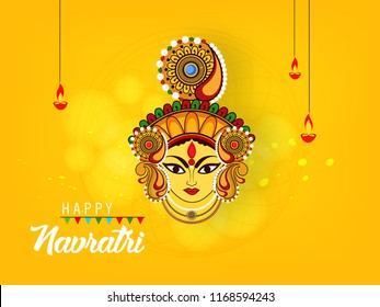 vector Illustration Of Happy Navratri Celebration Poster Or Banner Background 2018.