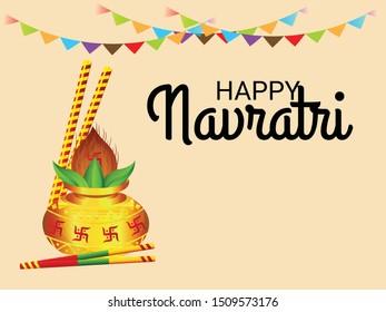 Vector Illustration Of Happy Navratri Celebration Abstract Background.