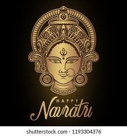Vector Illustration Of Happy Navratri, Durga Pooja, Maa Durga, Indian/Hindu Celebration for gift card, flyer, poster,etc.